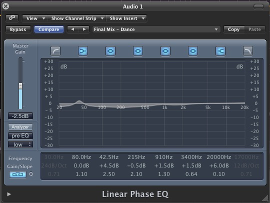 Logic's linear phase EQ is